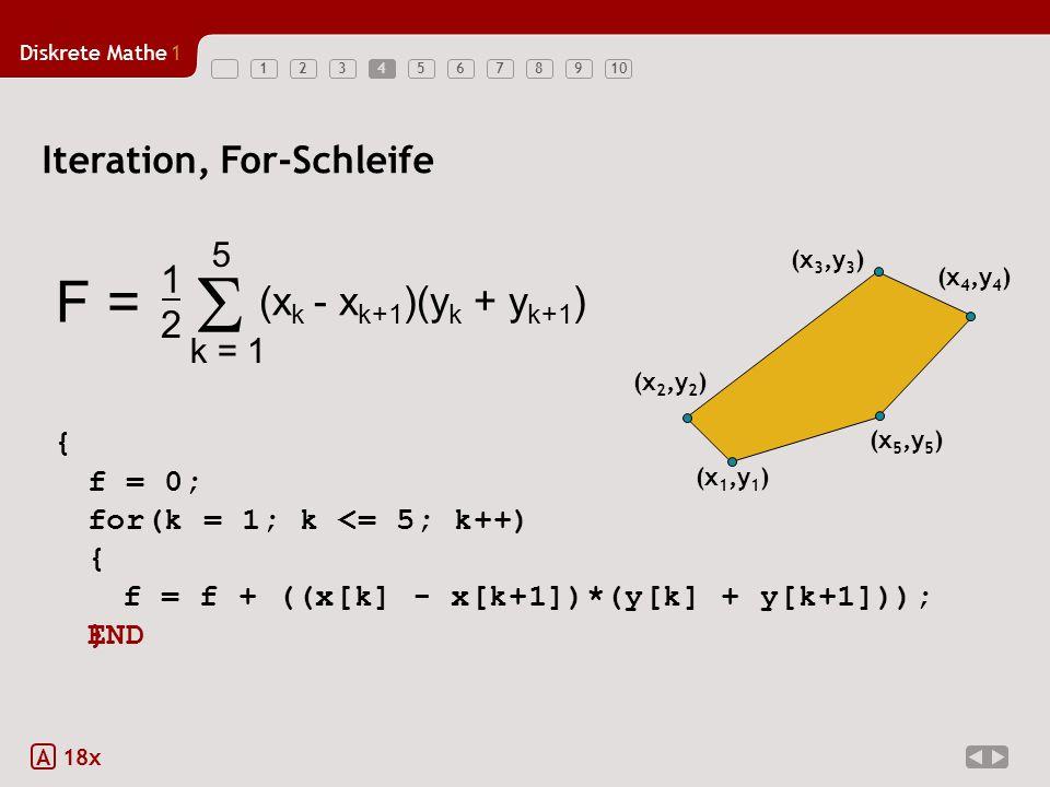 f = f + ((x[k] - x[k+1])*(y[k] + y[k+1]));